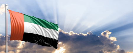 United Arab Emirates waving flag on blue sky. 3d illustration