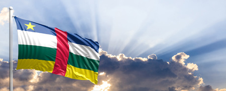 Central African Republic waving flag on blue sky. 3d illustration Stock Photo