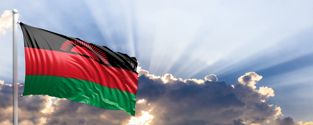 Malawi waving flag on blue sky. 3d illustration Stock Photo