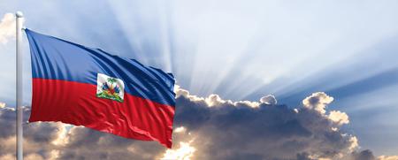 Haiti waving flag on blue sky. 3d illustration Stock Photo
