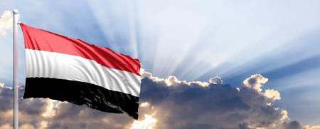 yemen: Yemen waving flag on blue sky. 3d illustration