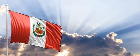 Peru waving flag on blue sky. 3d illustration