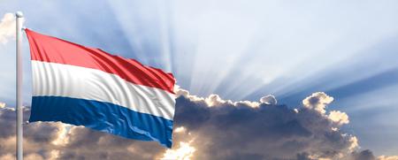 Netherlands waving flag on blue sky. 3d illustration