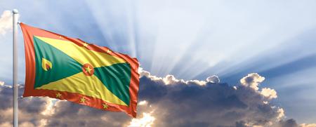 grenada: Grenada waving flag on blue sky. 3d illustration