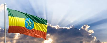 national flag ethiopia: Ethiopia waving flag on blue sky. 3d illustration