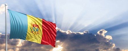 Moldova waving flag on blue sky. 3d illustration Stock Photo