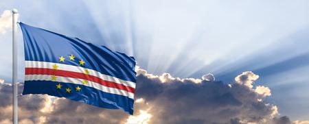 Cape Verde waving flag on blue sky. 3d illustration