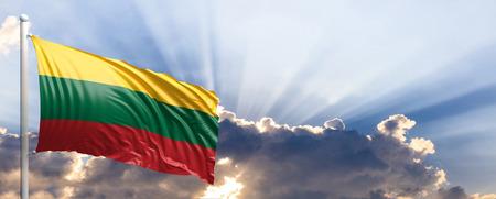 Lithuania waving flag on blue sky. 3d illustration Stockfoto