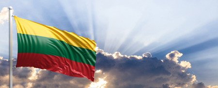 Lithuania waving flag on blue sky. 3d illustration Stock Photo