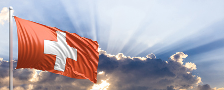 Switzerland waving flag on blue sky. 3d illustration