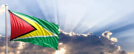 Guyana waving flag on blue sky. 3d illustration Stock Photo
