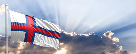 Faroe Islands waving flag on blue sky. 3d illustration Stock Photo