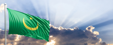 Mauritania waving flag on blue sky. 3d illustration Stock Photo