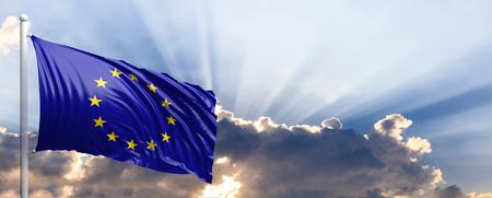 EU waving flag on blue sky. 3d illustration