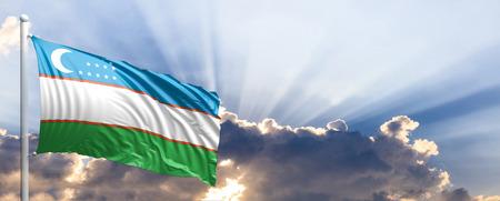 Uzbekistan waving flag on blue sky. 3d illustration