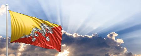 Bhutan waving flag on blue sky. 3d illustration