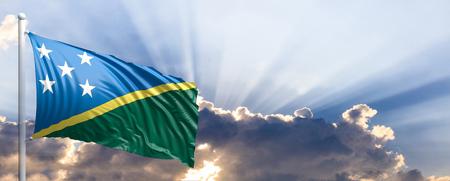 Solomon Islands waving flag on blue sky. 3d illustration Stock Photo