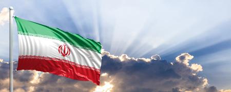 Iran waving flag on blue sky. 3d illustration