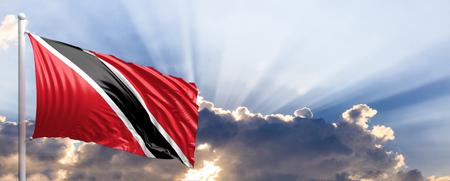 Trinidad and Tobago waving flag on blue sky. 3d illustration Stock Photo