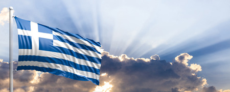 Greece waving flag on blue sky. 3d illustration Stock Photo