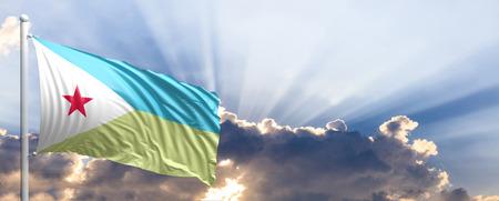 Djibouti waving flag on blue sky. 3d illustration