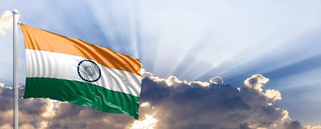 India waving flag on blue sky. 3d illustration Stock Photo