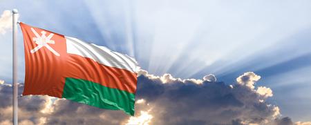 Oman waving flag on blue sky. 3d illustration