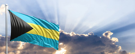 Bahamas waving flag on blue sky. 3d illustration