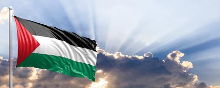 Palestine waving flag on blue sky. 3d illustration