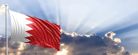 Bahrain waving flag on blue sky. 3d illustration