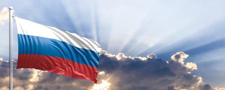 Russia waving flag on blue sky. 3d illustration Stock Photo