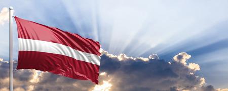 Latvia waving flag on blue sky. 3d illustration