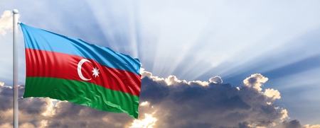 Azerbaijan waving flag on blue sky. 3d illustration