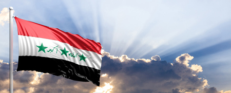 Iraq waving flag on blue sky. 3d illustration Stock Photo