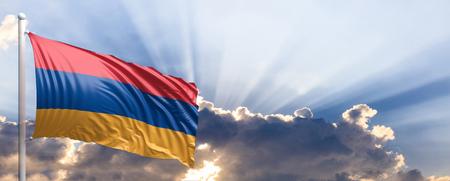 Armenia waving flag on blue sky. 3d illustration