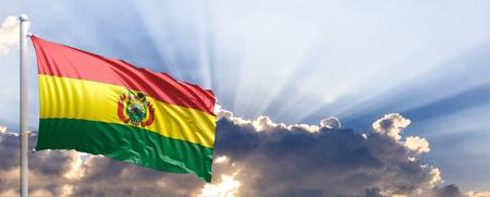 Bolivia waving flag on blue sky. 3d illustration
