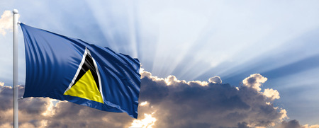 Saint Lucia waving flag on blue sky. 3d illustration Stock Photo