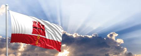 Gibraltar waving flag on blue sky. 3d illustration