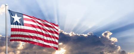 Liberia waving flag on blue sky. 3d illustration