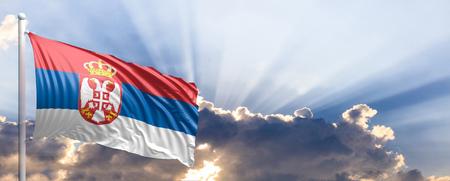 Serbia waving flag on blue sky. 3d illustration