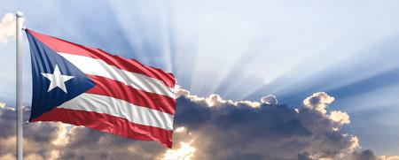 Puerto Rico waving flag on blue sky. 3d illustration
