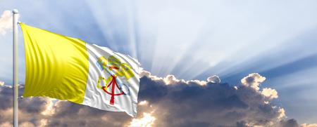 Vatican City waving flag on blue sky. 3d illustration