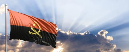 Angola waving flag on blue sky. 3d illustration Stock Photo
