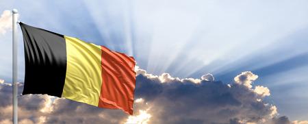 Belgium waving flag on blue sky. 3d illustration