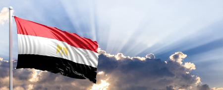 Egypt waving flag on blue sky. 3d illustration