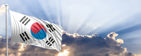South Korea waving flag on blue sky. 3d illustration