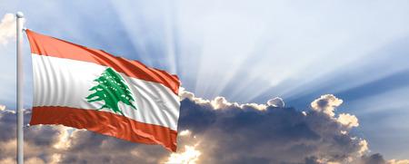 Lebanon waving flag on blue sky. 3d illustration