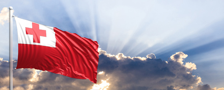 tonga: Tonga waving flag on blue sky. 3d illustration Stock Photo
