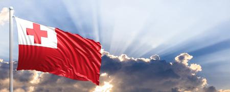Tonga waving flag on blue sky. 3d illustration Stock Photo