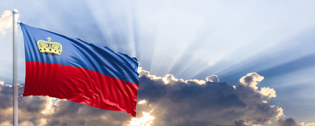 Liechtenstein waving flag on blue sky. 3d illustration